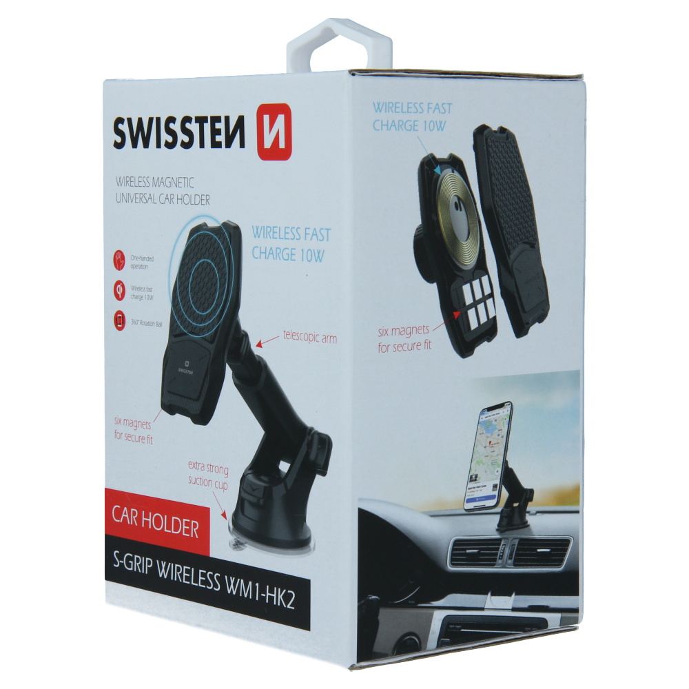 Suport auto magnetic cu incarcare wireless S-GRIP SWISSTEN