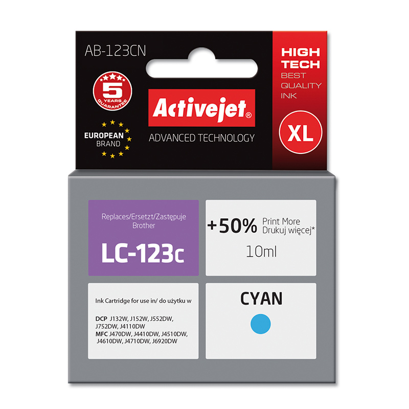 Activejet INK pentru BROTHER LC123C NEW AB-123CN