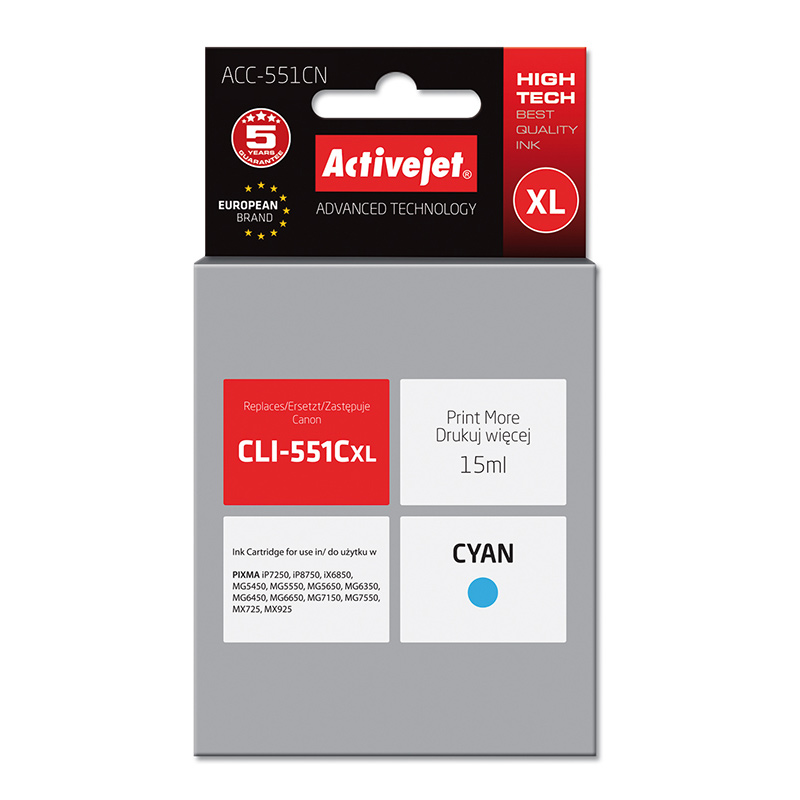Activejet INK pentru CANON CLI-551C NEW ACC-551CN